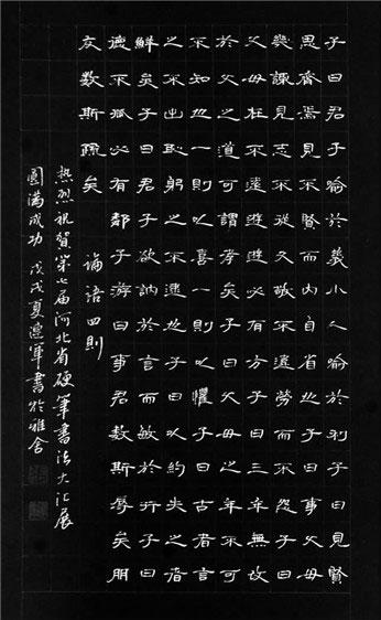 第七届河北省硬笔书法大汇展十杰作品欣赏